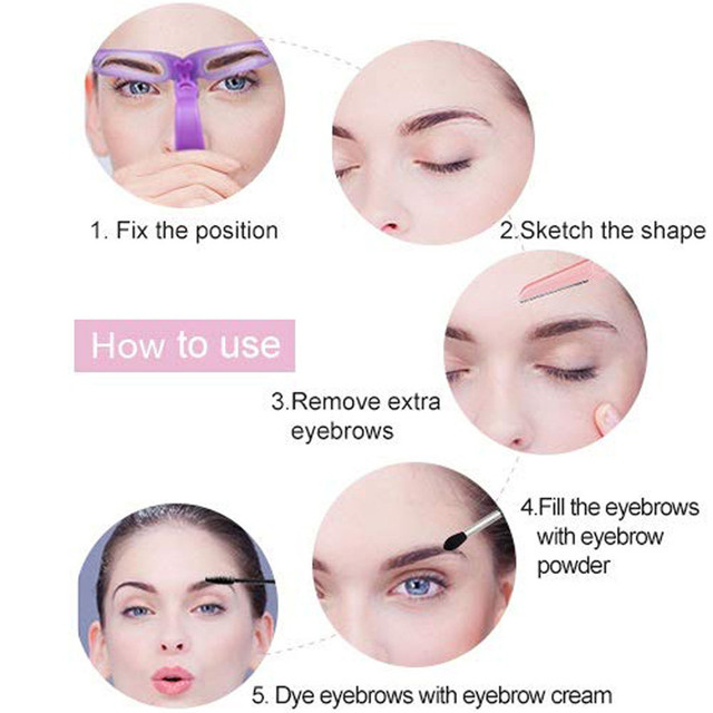 New 1Set Eyebrow Stencil 8 Styles Eyebrow Shapes DIY Grooming Stencil Kit Shaping Templat Eyebrow Stencil Tool 0514#30 1
