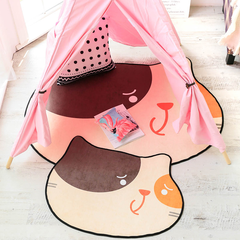 Cute Cat Childrens Room Carpet Crawling Rug Chenille Bathroom Non-slip Rectangle MatCute Cat Childrens Room Carpet Crawling Rug Chenille Bathroom Non-slip Rectangle Mat