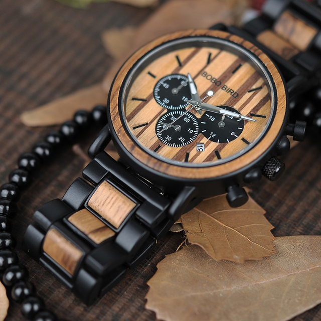 Wooden Watches Relogio Masculino Top Brand Luxury Stylish Chronograph Military Watch