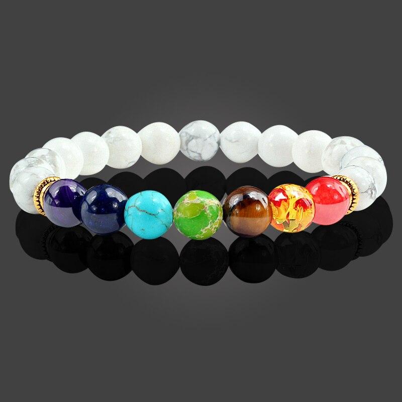 Fashion Lava Stone Beads Bracelets for Women Men 7 Chakra Bracelet Healing Balance Beads Buddha Prayer Reiki Bangle Jewelry Gift