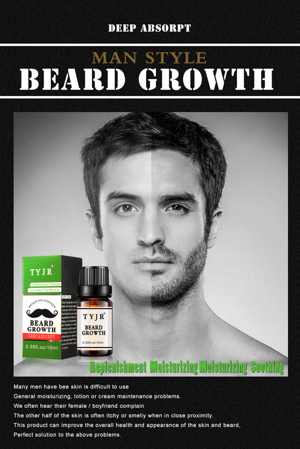 New Beard Growth Oil Essential Oil Nourishing Liquid Natural Hair Oil Durable Whiskers Beard Conditioner Hair Care Modeling Kit