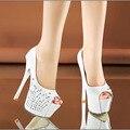 Bling Bling Crystal Sandalias Peep Toe de la Moda de Las Mujeres Bombas Del Banquete de Boda 5 CM Zapatos de Plataforma Mujer 15 CM Discoteca Sexy zapatos de Tacón alto