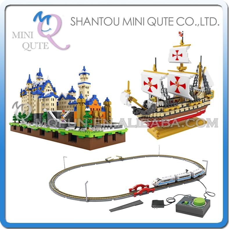 Mini Qute LOZ architecture mondiale navire de guerre Santa Maria électronique Train à grande vitesse en plastique blocs de construction jouet éducatif