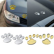 Tospra 2 pçs etiqueta do carro design legal pegada pata decalque adesivos de carro 3d estampas pé animal design pata pegada decalque adesivos(China)