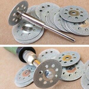 Image 2 - 10 pz 22mm utensili diamantati accessori Dremel Utensile Rotante set rotella di diamante di taglio a disco mola del diamante per il vetro
