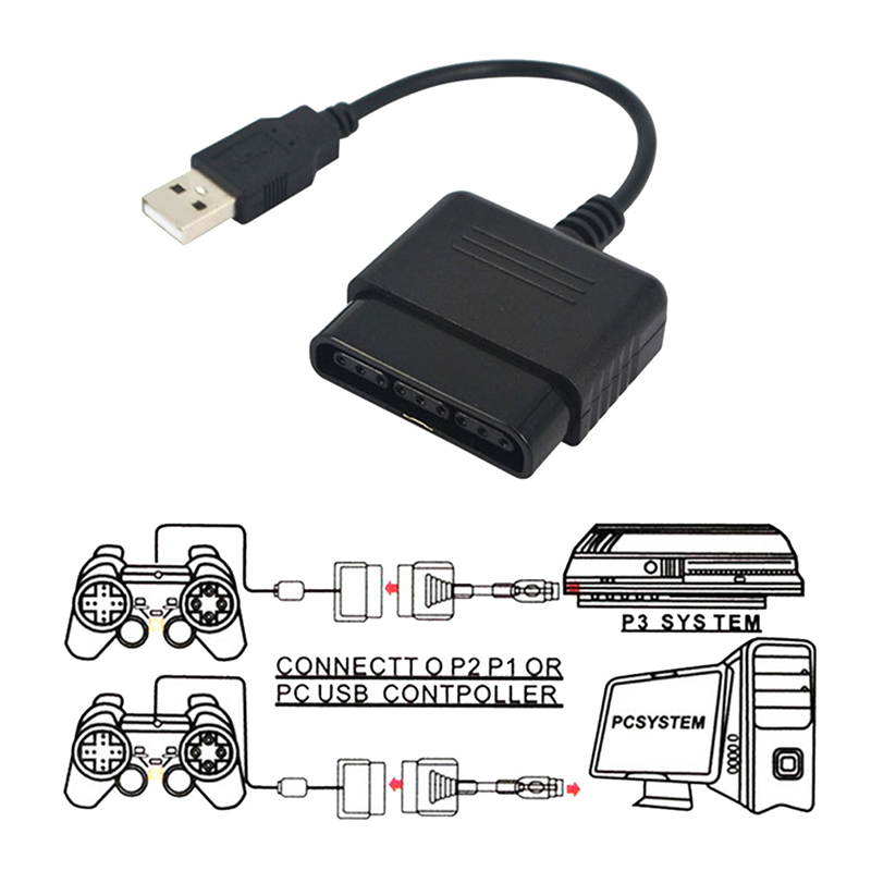 Game Controller Adaptor PC USB for PS2 To PS3 Converter for PlayStation 2 3 PS2 PS3 Replacement Connection Cable for Consoles