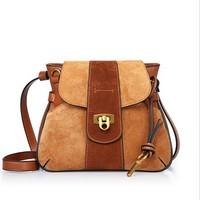 Vintage Genuine Nubuck Leather Women Sequined Saddle Bag Fashion Patchwork Thread Shoulder Bag Small Cross Body
