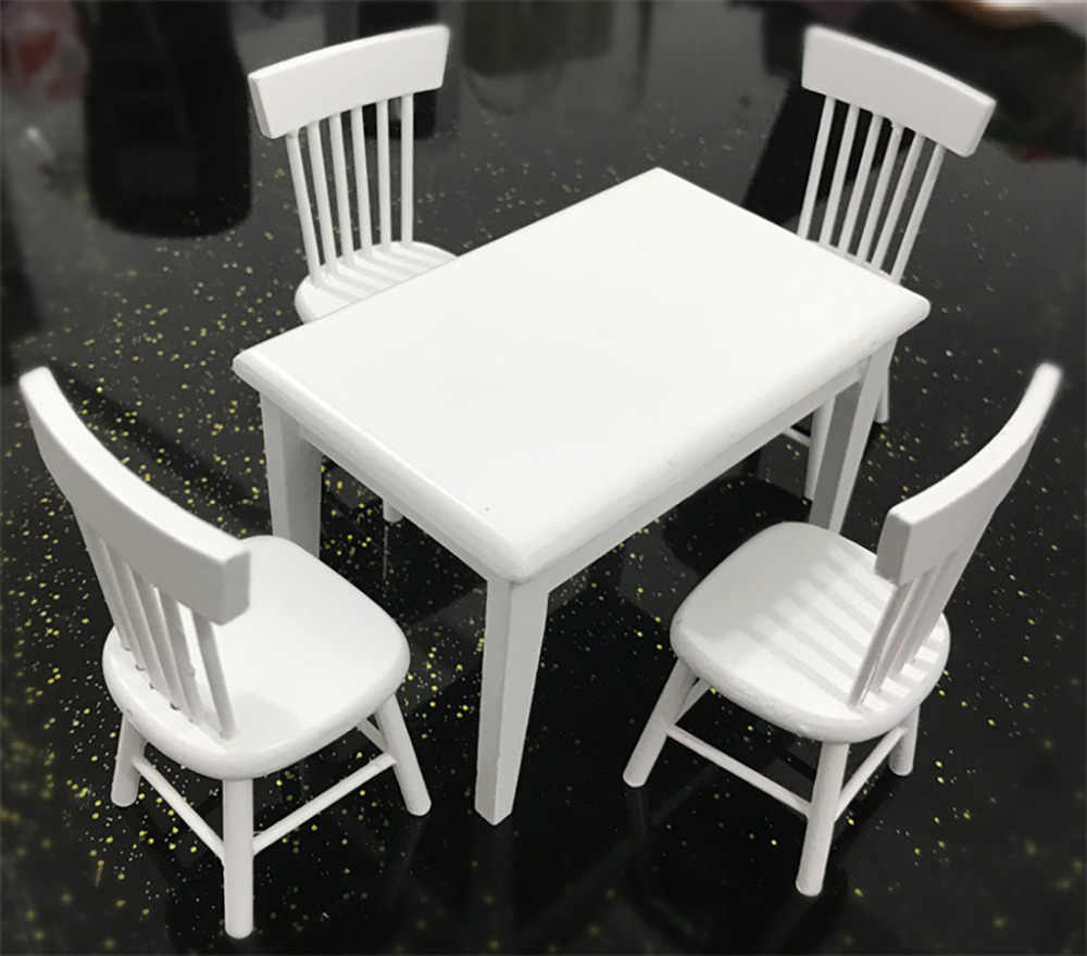 Hot Sale Princess Doll 1:12 Dollhouse Miniature Furniture Wooden White Dining Table Chair Model Set 40# dropship