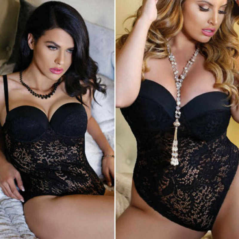 USA Women Sexy-Lingerie Babydoll Exotic Apparel High Waist Solid Color Lace Underwear G-string Nightwear Sleepwear Set