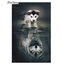 Фотография REALSHINING Animals 5D Diy Diamond Painting Full Square Dog Wolf Shadow Mosaic Pasted Embroidery Needlework Cross Stitch D154