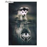 REALSHINING Animals 5D Diy Diamond Painting Full Square Dog Wolf Shadow Mosaic Pasted Embroidery Needlework Cross