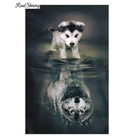REALSHINING Animals 5D Diy Diamond Painting Full Square Dog Wolf Shadow Mosaic Pasted Embroidery Needlework Cross