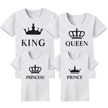 Family Matching Clothes Outfits Look Father Mother Daughter Son Crown T shirt Clothing Daddy Mommy Me Baby Dresses King Queen(China)