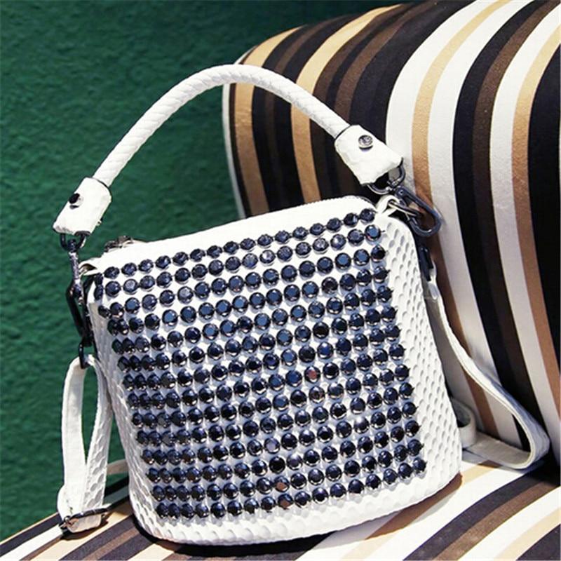ФОТО pretty elegant european style popular nice diamond rivets women famous designer brand bags women leather handbags