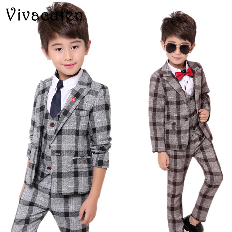 все цены на School Uniform Dress for Boys Formal Tuxedo Suits Weddings Blazer Vest Pants 3pcs Kids Gentleman Party Child Clothing Sets F023 онлайн