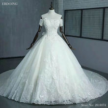 Real Photo Vestidos De Novia Ball Gown Wedding Dress Boat Neck Short Sleeves Lace Up Plus Size With Beaded Appliques