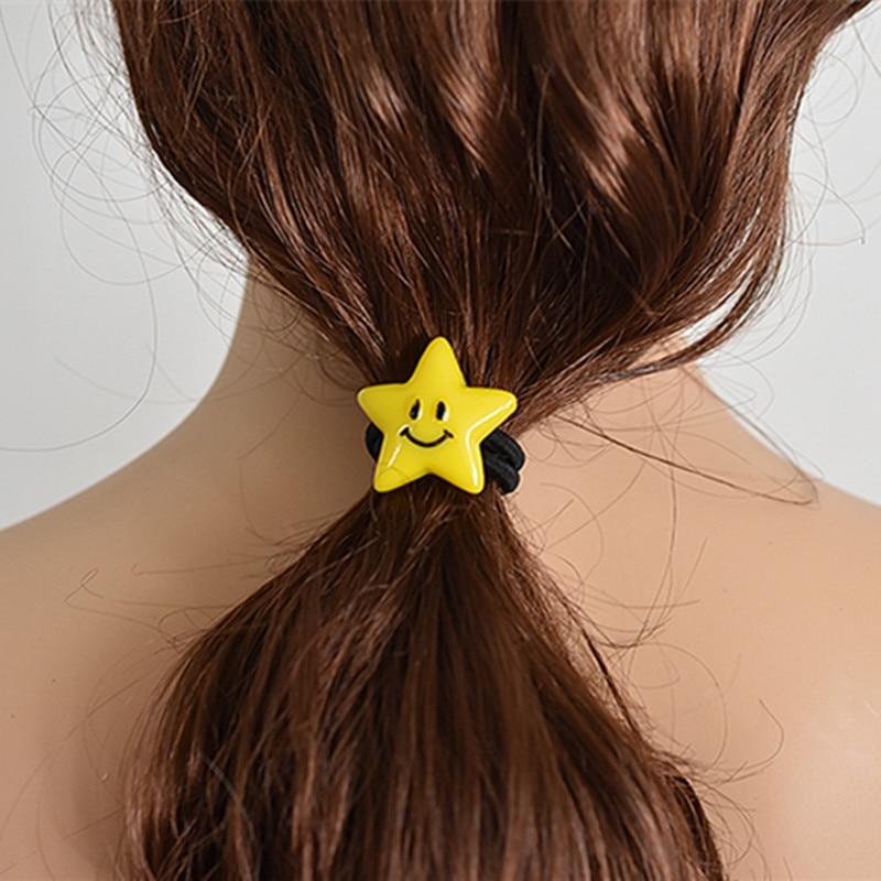 New Simple Cartoon Star Hair Rope Women Elastic Hair Band Girls Headwear Expression Headbands Trendy Smile Face Hair Accessories