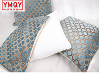 YMQY Europe Style Blue Endless Dot Cushion Cover Luxury Velvet Pile Pillowcase Elegant Home Sofa Car Seat Cushion H