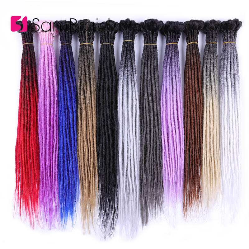 SAMBRAID Dreadlocks Hair Extensions 24 Inch Crochet Braid Synthetic Hair Hip-Hop Style Dreads Crochet Hair Ombre Braiding Hair