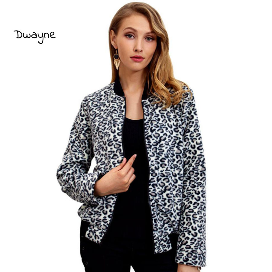 Women Jacket Spring Autumn Ladies Coat Fashion Leopard Print For Women O-Neck Zipper Leisure Short Outerwear Women Clothes