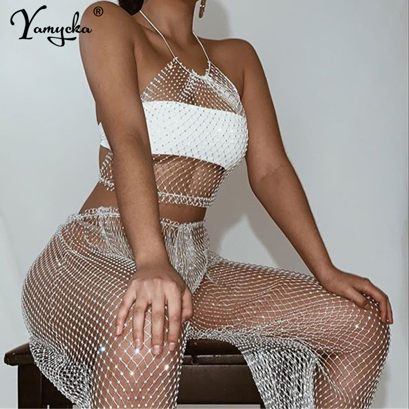 Sexy Bling diamonds Body chain summer bodysuit women Mesh Plaid body mujer Elasticity Hollow Sparkling Night club party jumpsuit