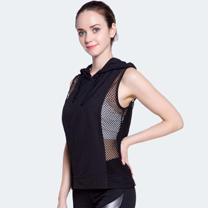 Dry Quick Force Exercise Sporting Tank Tops Fitness Sleeveless Hooded Vest Sexy Mesh Splice Loose Tank Top For Women DropShip