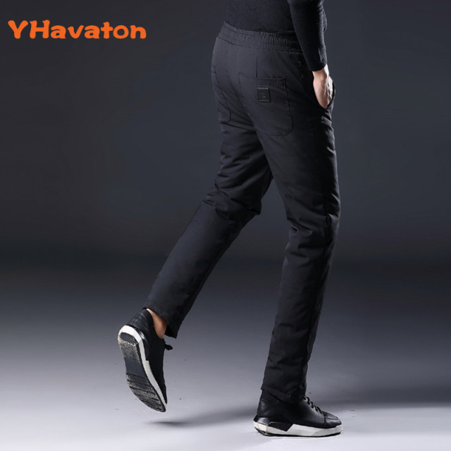 YHavaton Mens 90% White Duck Cold-proof Pants 2020 Winter Straight outside wear Business Pants Warm Duck Down Padded Trousers 4