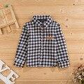 2015 novas crianças primavera meninos camisas de algodão de manga comprida patchwork xadrez meninos bonitos coreano camisa 5 cores moda infantil blusa