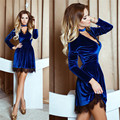 2016 Winter Spring Women Dresses Fashion Long Sleeve Velvet Sexy Lace Dress New Year Elegant Vintage Slim Women Dresses Vestidos