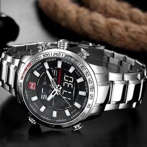Image 4 - Naviforce 브랜드 남자 군사 스포츠 시계 망 led 아날로그 디지털 시계 남성 육군 스테인레스 쿼츠 시계 상자 세트 판매