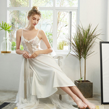 цена на Sexy Mousse sleep wear satin lace embroidery long dress embroidery floral deep v mesh backless sting dress white pink sexy new