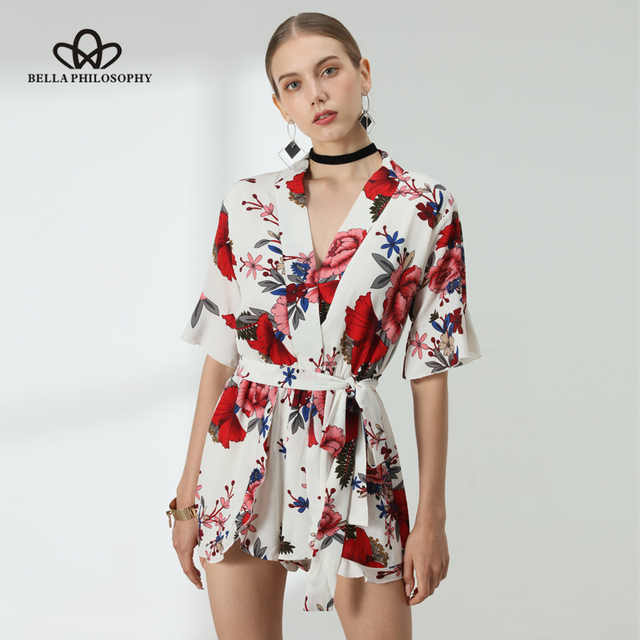 893d48baddc Bella Philosophy summer floral print short sleeve ruffles women playsuit  jumpsuit rompers beach style short overalls