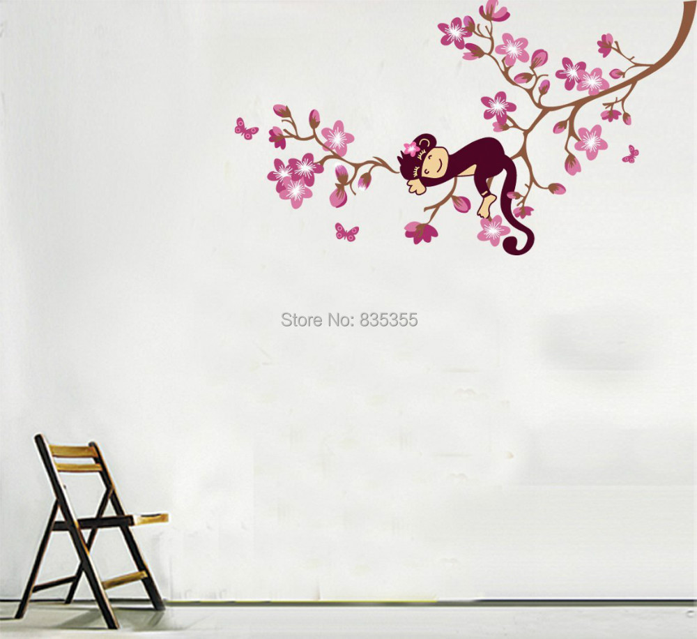 Sticker wall decal picture more detailed picture about monkey monkey hanging over tree kidsnursery easy wall decor sticker wall decal amipublicfo Images