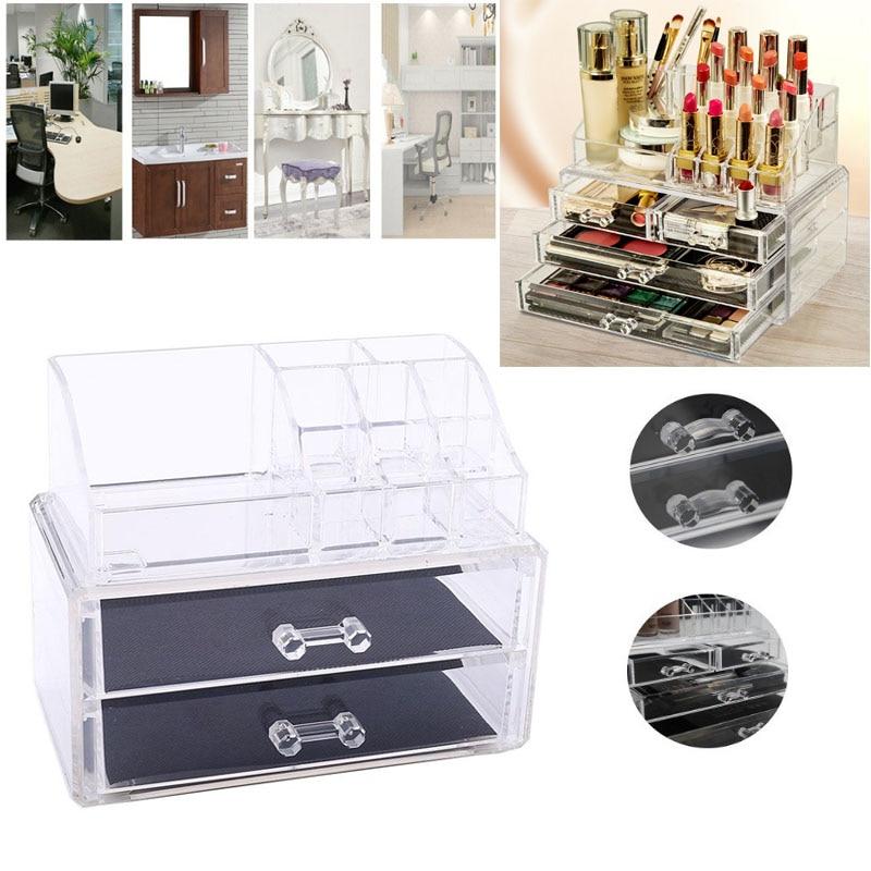 Makeup Organizer CosmeticToiletry Desktop Storage Box jewelry Nail Polish Clear