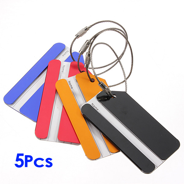 5 Pcs Holiday Metal Travel Luggage Baggage Suitcase ID Tag Buckle Address Label Holder - Color Random