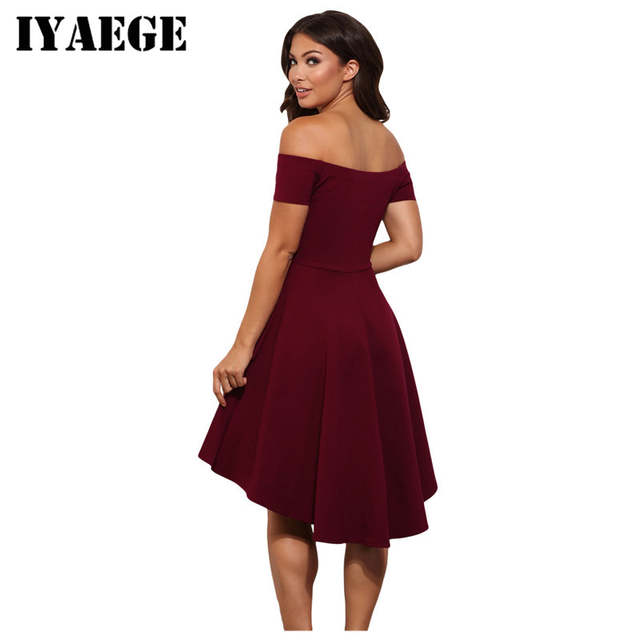 89d9c2155e2 placeholder IYAEGE Elegant Chic Party Dresses Women Burgundy All The Rage  Slash Neck Off Shoulder Skater Dress