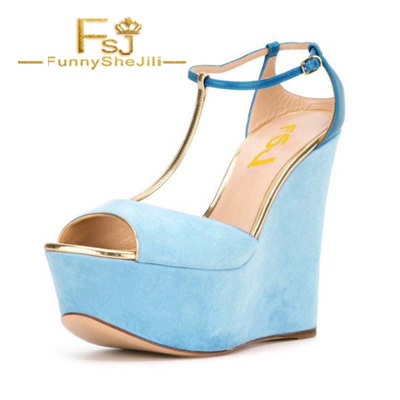 bf370c5625b457 Buy blue wedges and get free shipping on AliExpress.com