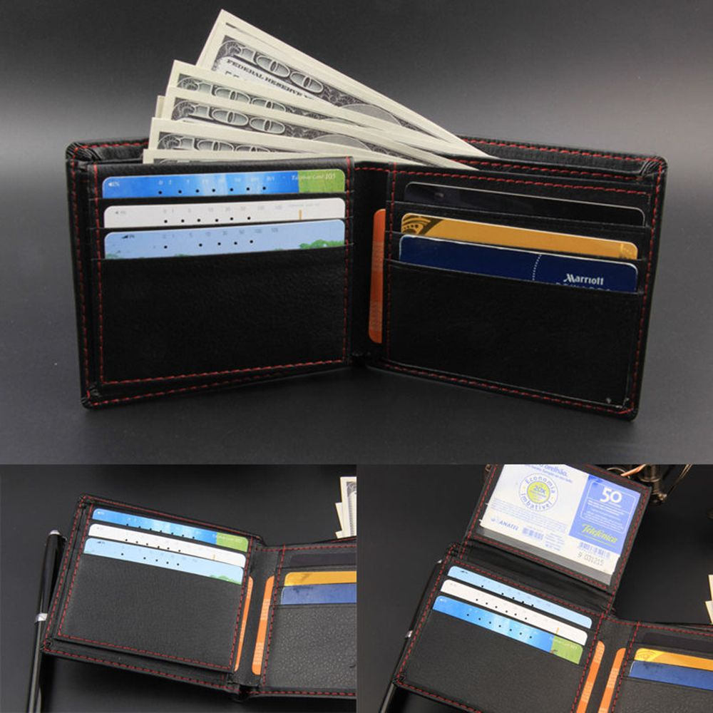 Black Mens Leather Credit Card Holder Wallet Bifold ID Cash Trifold Purse Clutch Dollar Slim Purse  Wallet