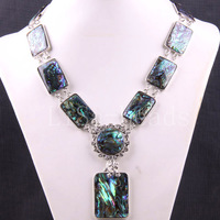 Free Shipping Jewelry Natural Blue New Zealand Abalone Shell Necklace 19-30