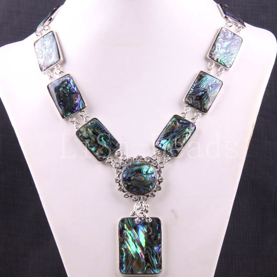 Free Shipping Jewelry Natural Blue New Zealand Abalone Shell Necklace 19 30 1Pcs E392