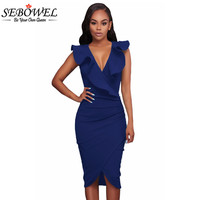 SEBOWEL 2017 Summer Ruffle V Neck Sexy Bodycon Midi Wrap Dress Elegant Formal Pencil Dress Sleeveless