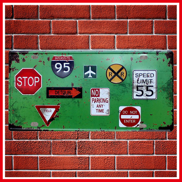 New Traffic Warning Sign Vintage Metal Signs Home Decor Vintage Tin Signs  Pub Vintage Decorative Plates