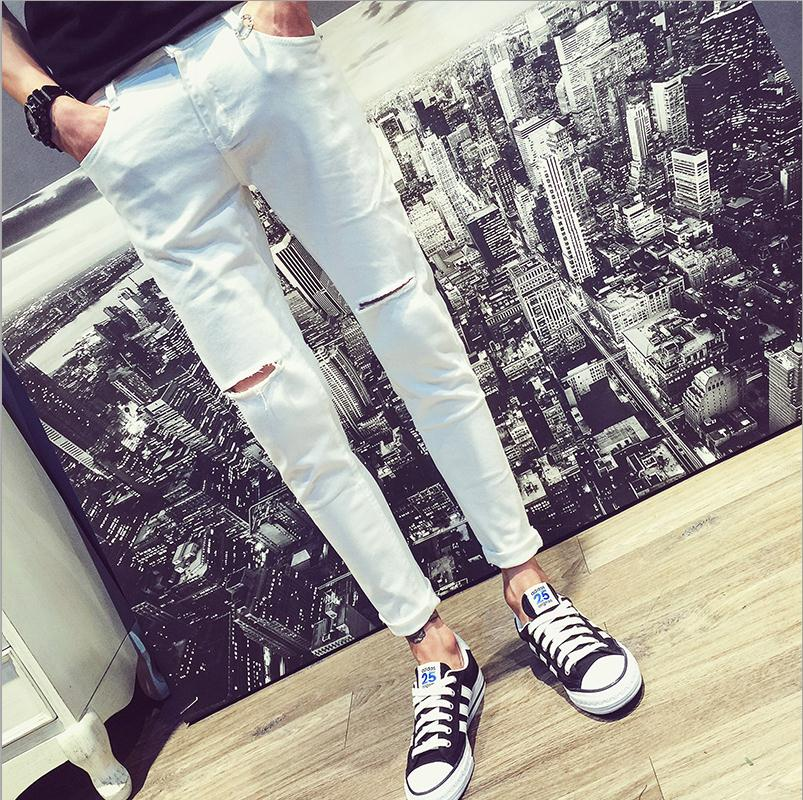 Top Quality 2020 Fashion Casual Knee Hole White Jeans Men Slim Hip Hop Denim Skinny Ankle Length Pants Homme Hombre