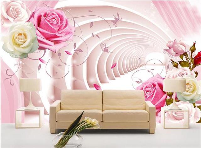 Custom 3d Photo Wallpaper Kids Room Mural Pink Space Corridor Rose Painting TV Background Non