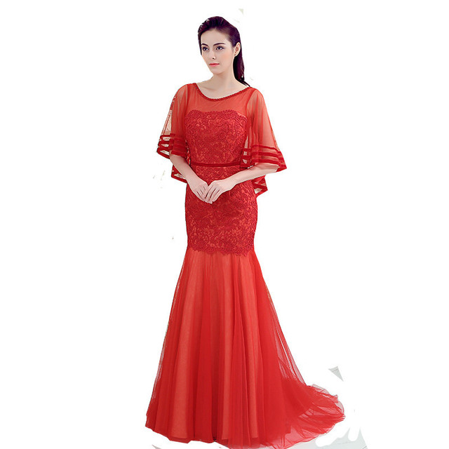 9e4e9ad382 MDBRIDAL Women Lace Evening Dress with Cape Long Red Tulle Gown Formal  Dresses Custom Size