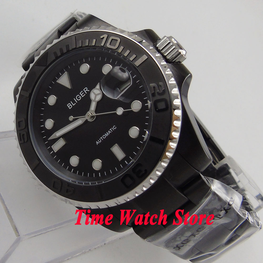 Bliger 40mm blackl dial PVD case brushed ceramic bezel sapphire glass Automatic watch 162Bliger 40mm blackl dial PVD case brushed ceramic bezel sapphire glass Automatic watch 162