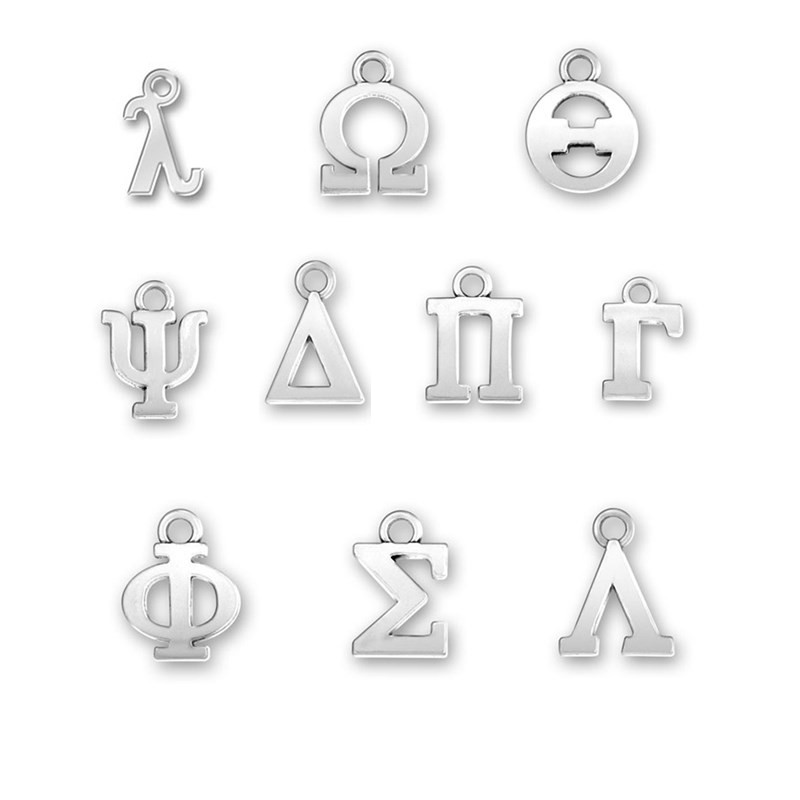 Silver Plated Greek Letter Alphabet Charms Delta Sigma