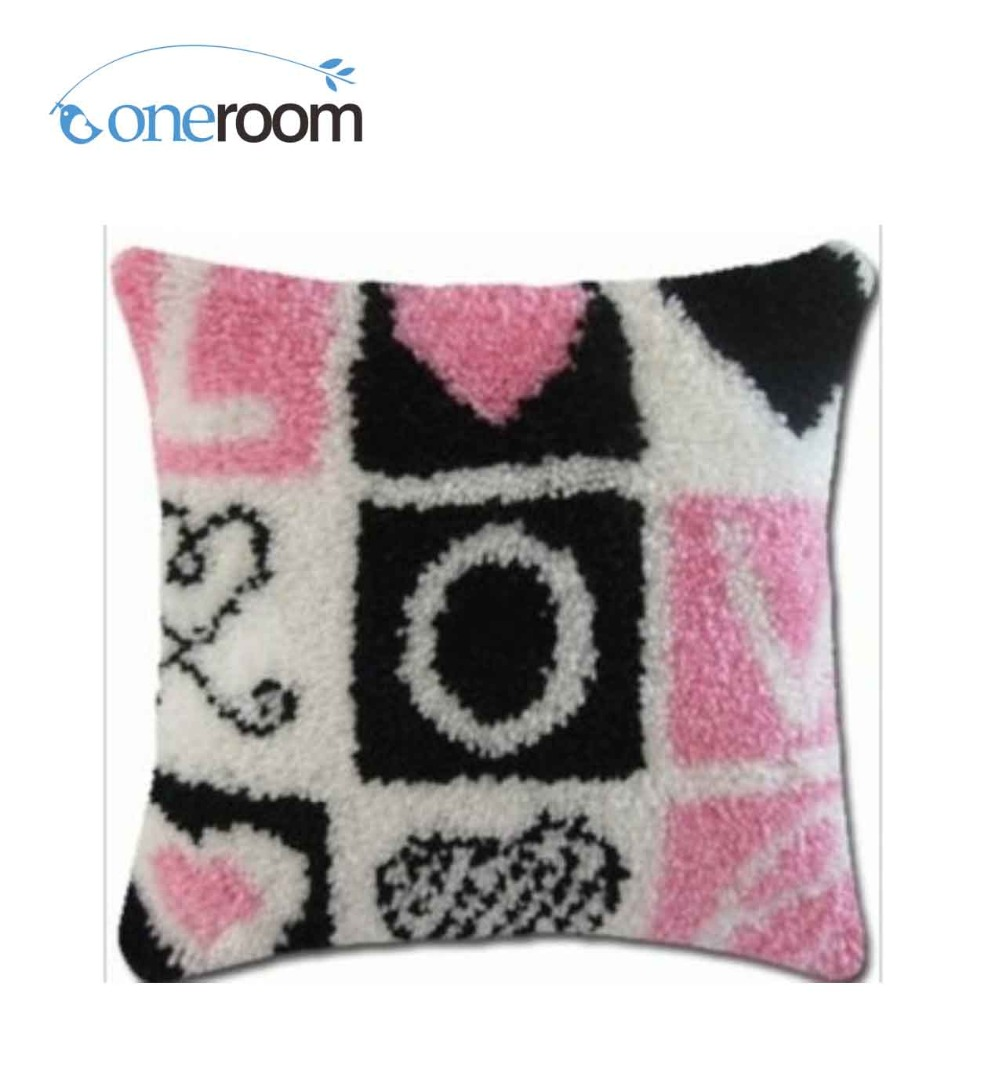 Us 16 99 15 Off Bz063 Loveth Hook Rug Kit Pillow Diy Unfinished Crocheting Yarn Mat Latch Floor In From Home Garden On