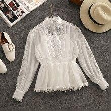 2c3dd4cf2 2019 Primavera Nova Chegada de Fadas Ficar Mulheres Colarinho Camisas Lace  Costura Chiffon Blusa Mangas Compridas
