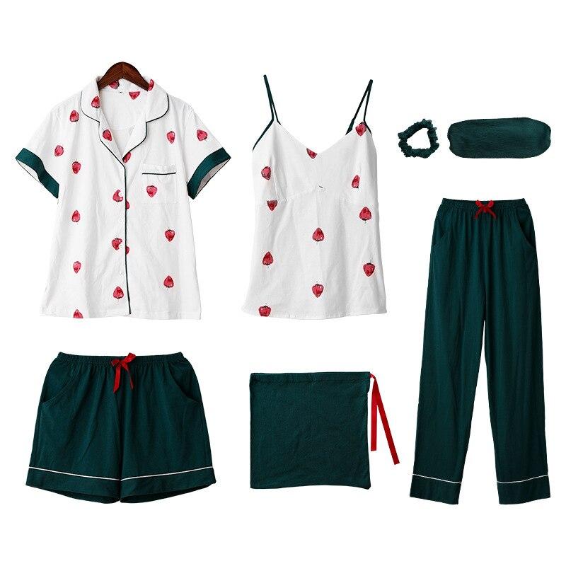 7 piece 100% cotton Homewear women   set   sleepwear Printed Strawberry   Pajama     Sets   Ladies top Sexy Autumn Winter green white